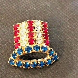 Jewelry - Uncle Sam Hat Rhinestone Crystal Pin Red White Bl